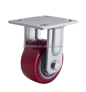"EDL Heavy Duty 4"" 350Kg Polyurethane Wheels Castors Plate Bearing Rigid Fixed Swivel Roller Industrial Caster Wheels for trolley"