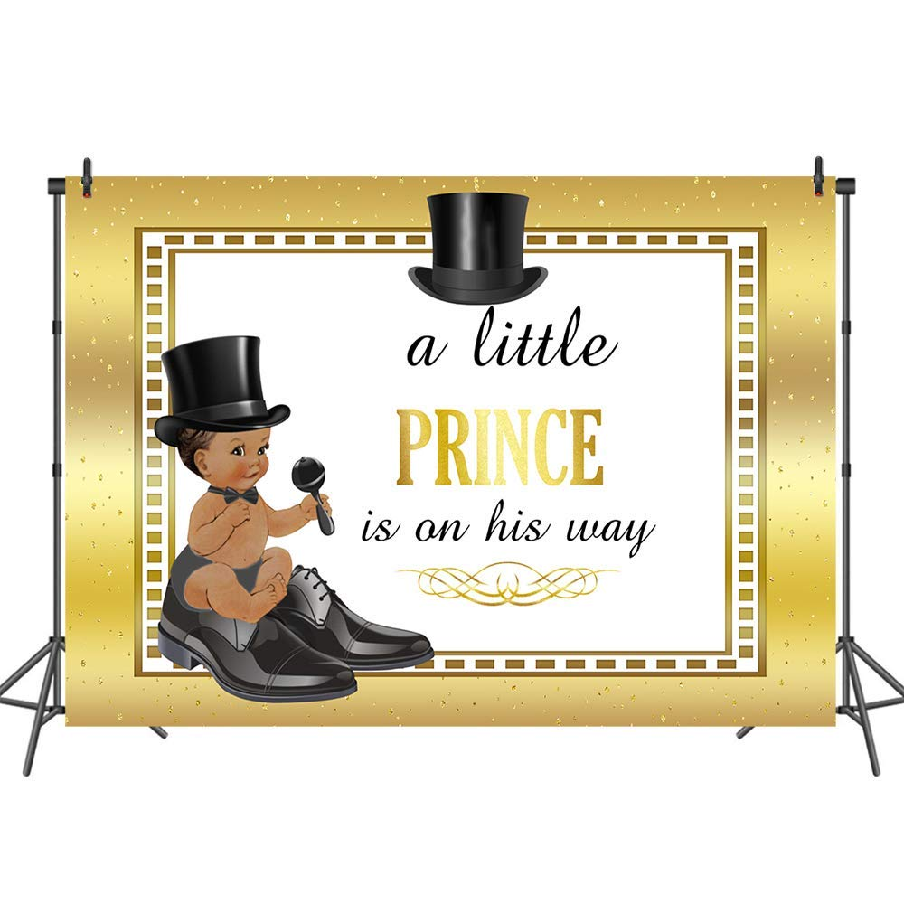 Mehofoto Welcome Little Prince Backdrop Gold Baby Shower Photo Background for Boys 7x5ft Cool Black Baby Boy Photography Backdrops for Baptism Birthday