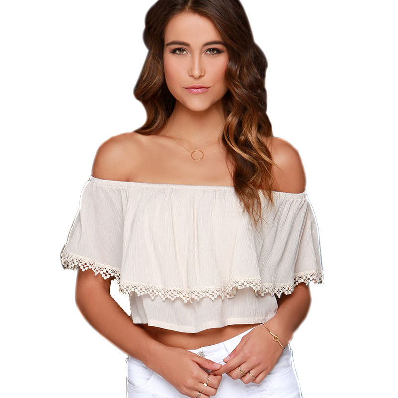 Blusa Feminina Slash Neck Sexy Lace Patchwork Embroidery 2015 Fashion Women Short Sleeve White Chiffon Solid Tops Blouses 0179