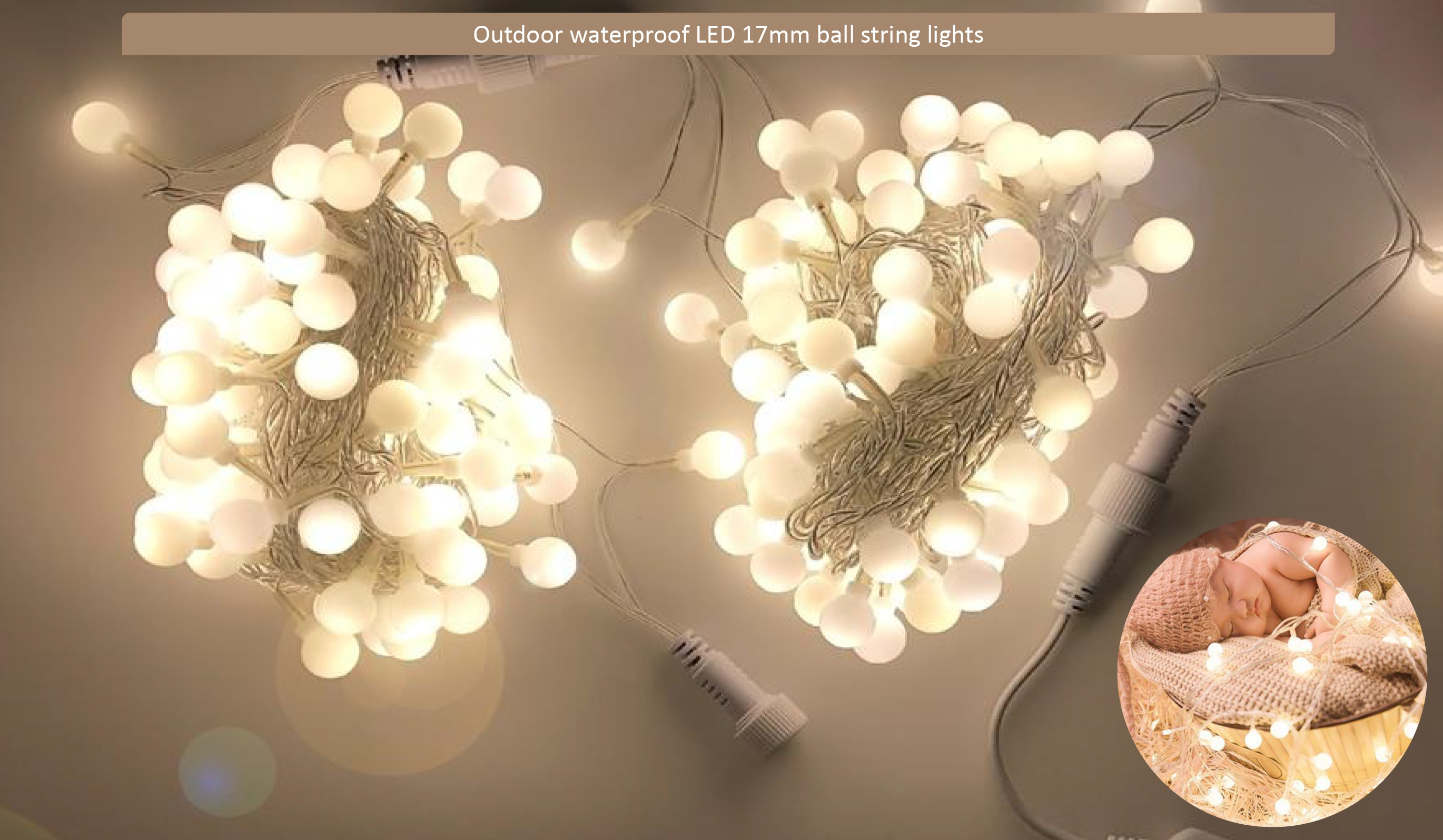 Happy Birthday Party Home Roomตกแต่งสีสัน 17 มม.Led PE Ball String Light