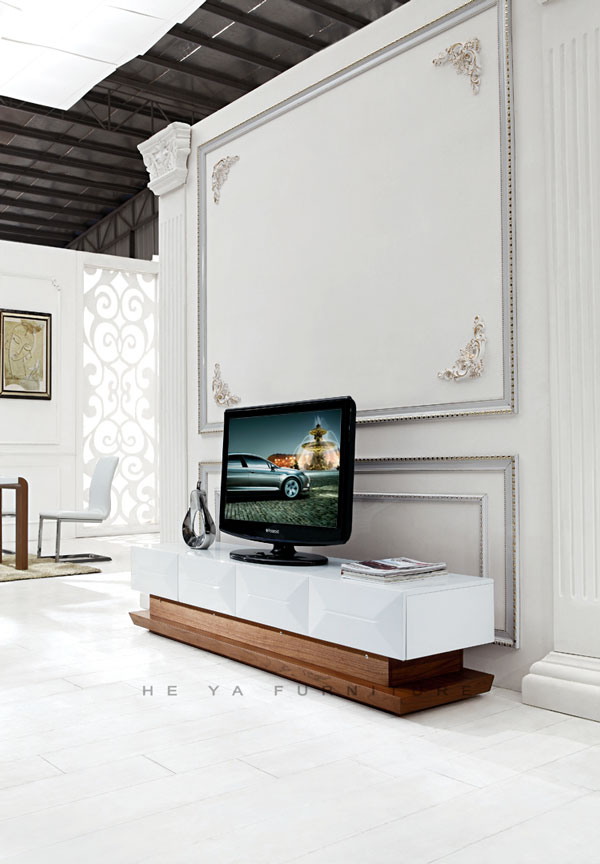 Modern Beige Gloss Tv Wall Unit,Wooden Lcd Tv Stand Design