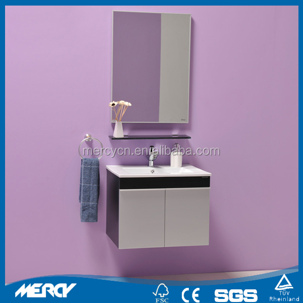 Modern Gray MDF Bathroom Vanity With Ceramic Basin