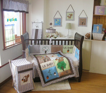100% cotton US Standard embroidered and prints baby crib bedding set