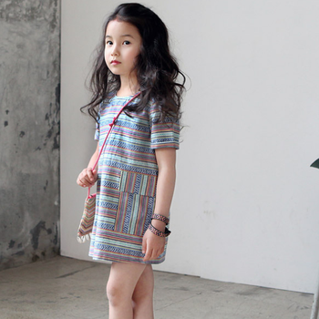 Ms70261b Lovely Korea Style Striped Girls Simple Dress Fashion