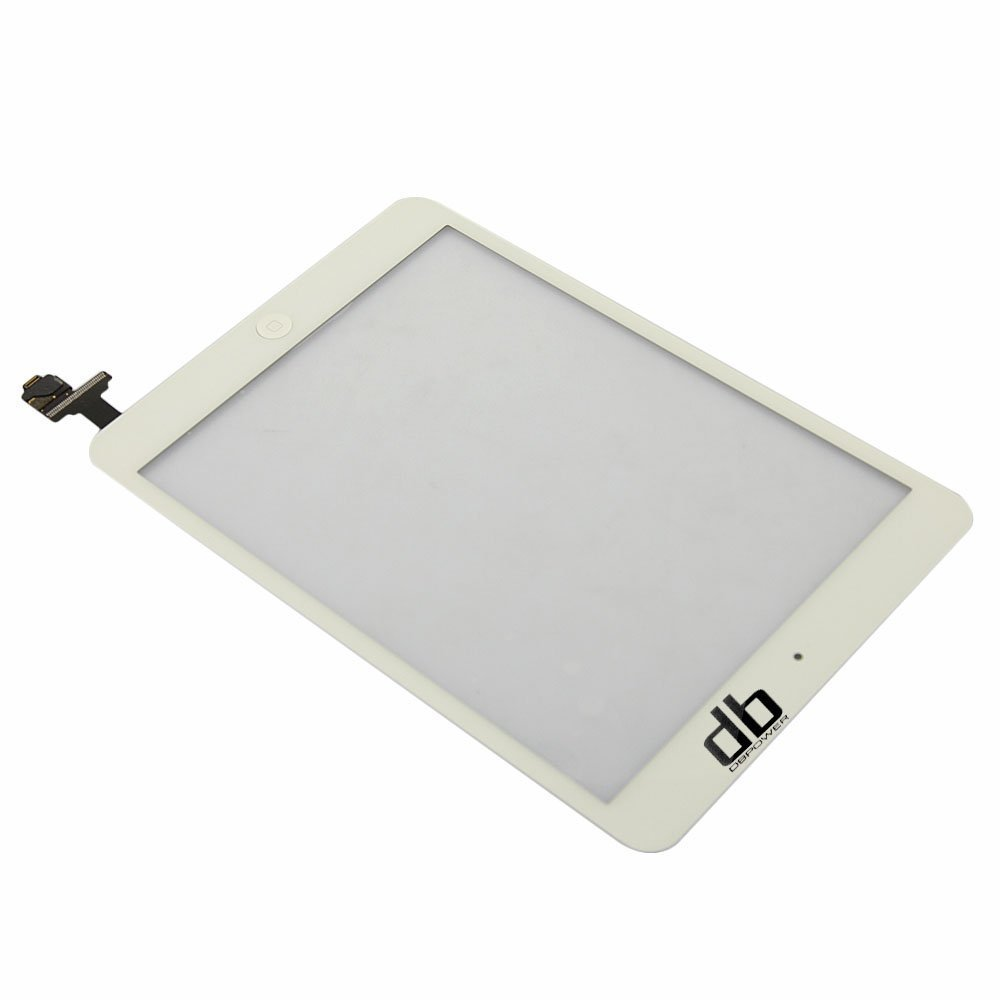 White Ipad Mini Touch Glass Digitizer Screen IC Connector + Home Button Flex Assembly+Tools,