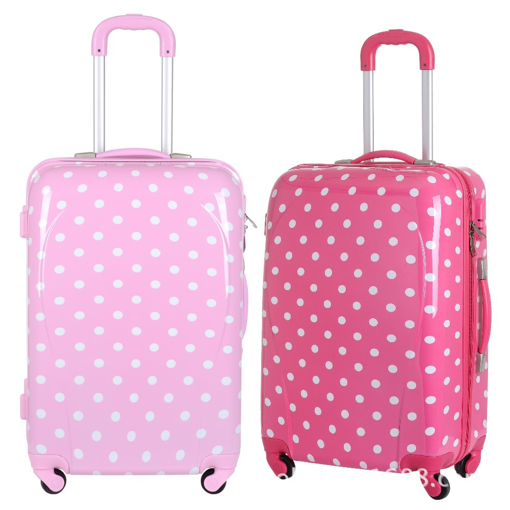 Cute Pink Polka Dot Girls Travel Suitcase,Girls Wheeled Custom ...