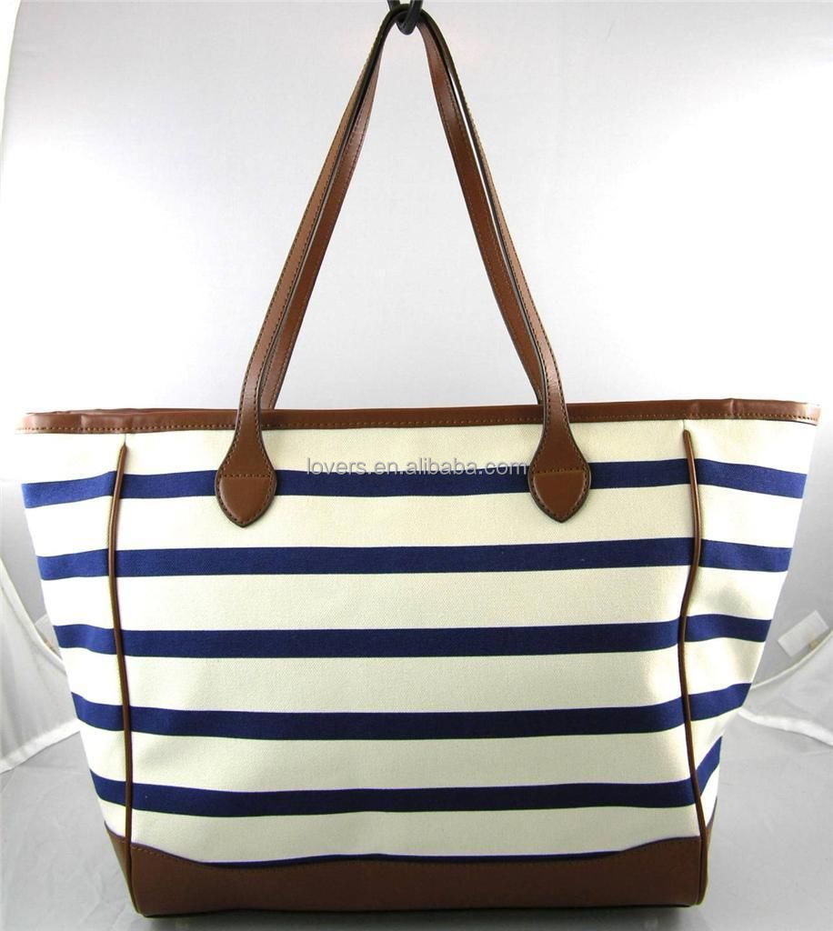 Blue Off White Stripe Tote Bag Purse Cotton With Leather Strip ...
