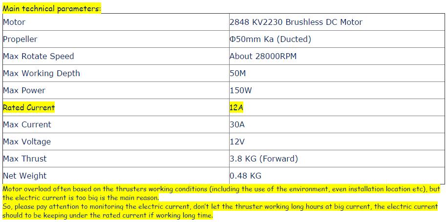 KZ-3800 Deepth 50M Thrust 3 8KG Voltage 12V Underwater Thruster