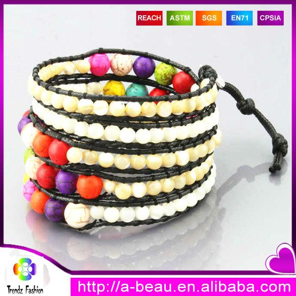 xq manual tamao mezclado pulsera de cuero con cuentas de cristal de la perla