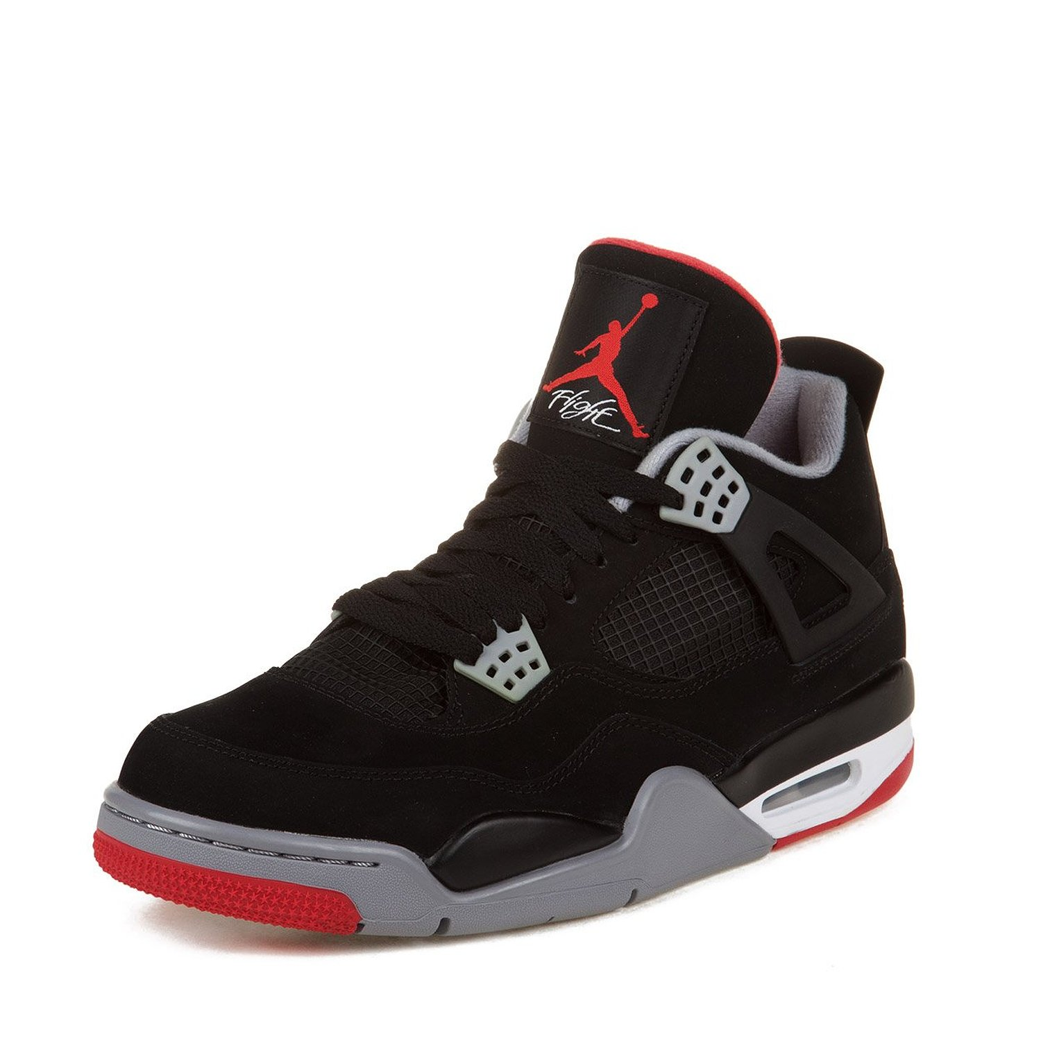 "Nike Mens Air Jordan 4 Retro ""Bred"" Black/Cement Grey-Fire Red Suede Basketball Shoes Size 13"
