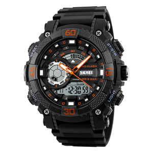 Dual time settings multifunction digital alarm mode waterproof sports men watch