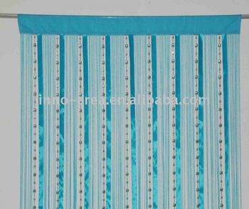 Solid Color Beaded Ribbon Curtains
