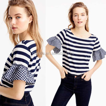 women clothing summer plus size tops Stripe Plaid Ruffle-sleeve top latest design shirts