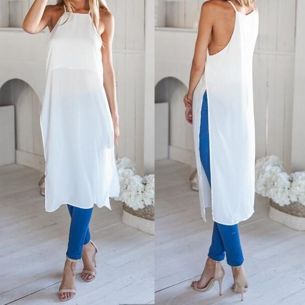 467c6350b Wholesale Ladies Casual Side High Slits Tee Long Tops Maxi Dress T ...