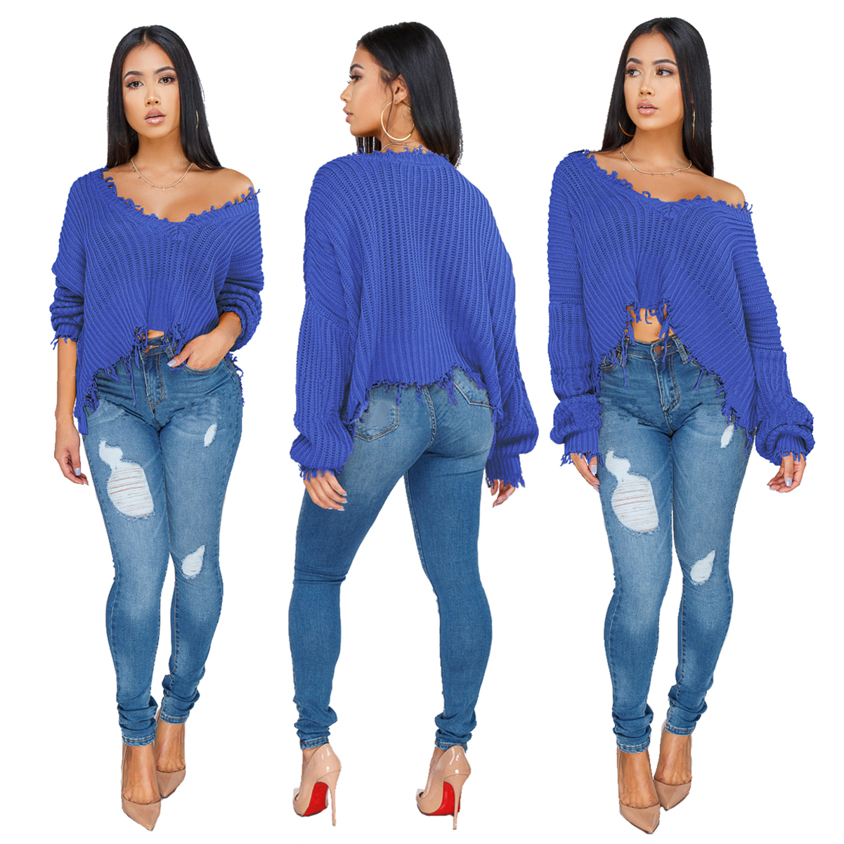 Z035 2019 irregular knit top style V neck  oversize loose women  crop sweaters