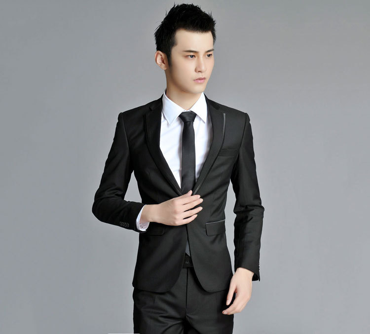 Slim Fit Comfortable And Durable Korea Edition Suit Black Best Wedding For Man