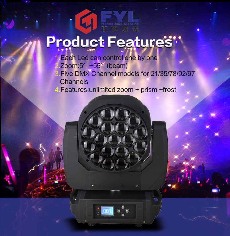 ce rohs approved stage lighting 19x15W dmx512 rgbw 4 in 1 bee eye led mini dj lights moving head lighting