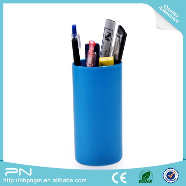 Hot Selling Customized Cylinder Colorful Plastic Pen Stand/Desktop Pen Holder Plastic