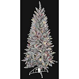 get quotations 5hx32w silver tinsel iridescent multi color lighted artificial christmas tree w - Iridescent Christmas Tree Decorations