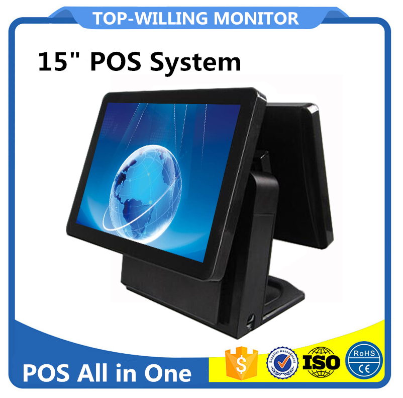 Dual Display 15 inch All in One Capacitive Touch Screen Windows 7 POS Terminal for Restaurant