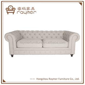 French Rivet Button Tufted White Fabric Love Seat Chesterfield Sofa