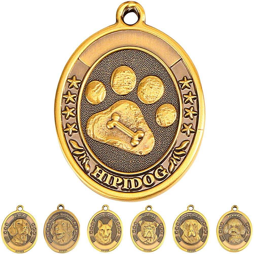 Dog Tags for Dogs Engraved Personalized Dog Name tags Custom Pet ID Tags Large Brass 3D Military Small Dog Tag Ring Poodle/Bull Dog/Golden Retriever/German Shepherd/Beagle/Labrador Retriever/Paw