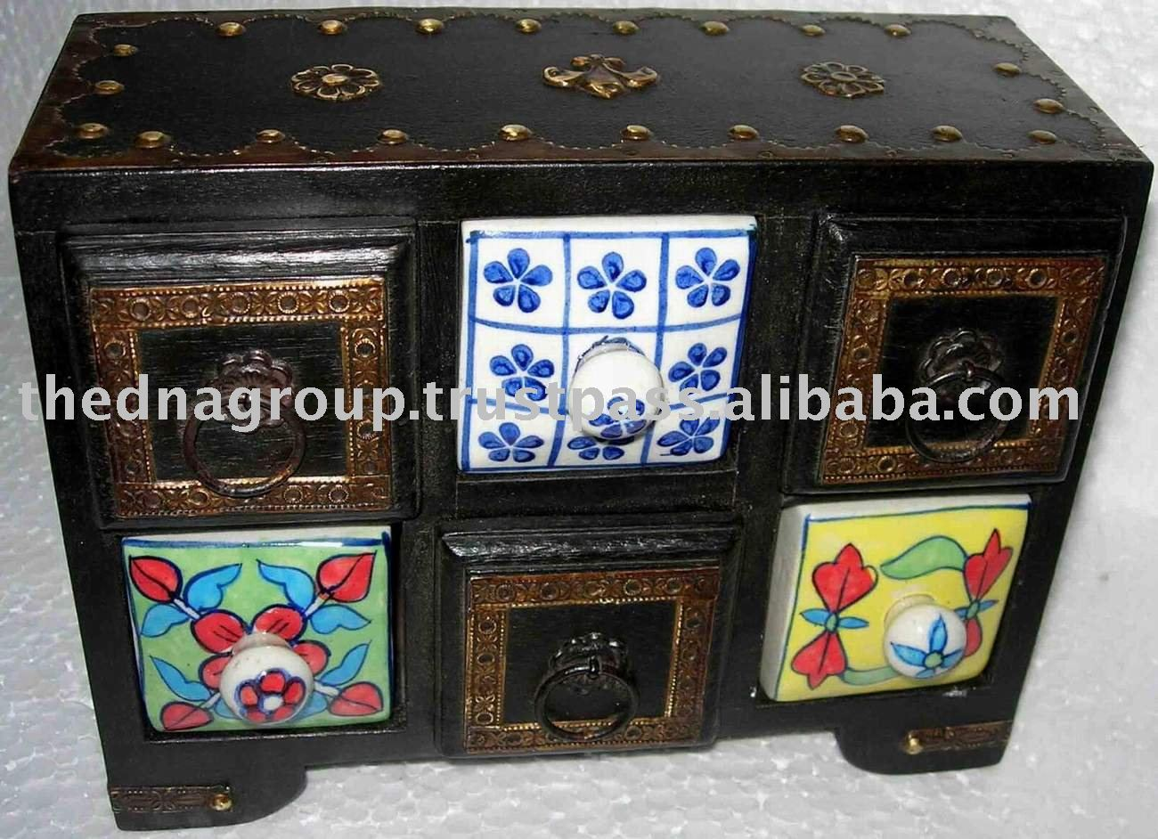 wooden & straw drawers /shelf /chest /storage cabinet it is nice combination of wood +ceramic used as jewelry box/spices box