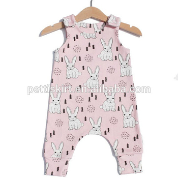 bunny rabbit pattern romper cotton clothes pink background baby