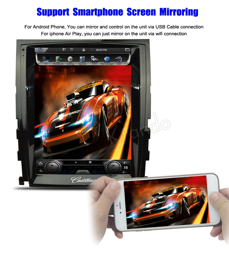 Krando 10.4 '' Vertical screen android car radio multimedia for cadillac seville SLS 2007-2012 big screen navigation with gps system