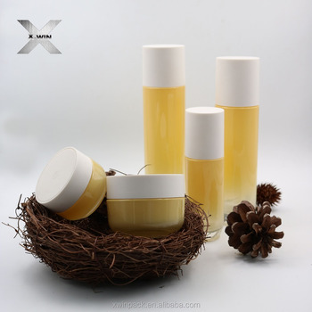 fresh style glass bottle face cream /loction/makeup water yellow bottle with white cap30ml 50ml 100ml 120ml