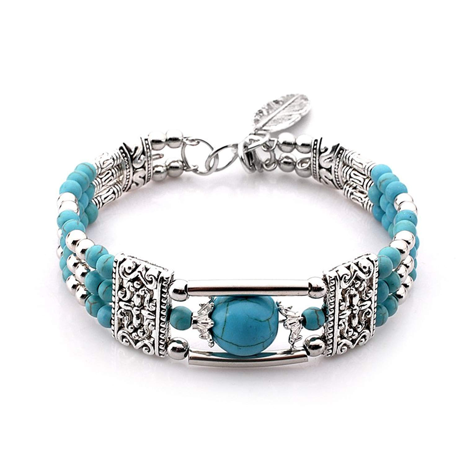 Vintage Turquoise Bead Bracelet with Leaf Charm Bohemia Style Antique Silver Bangle for Women Girls