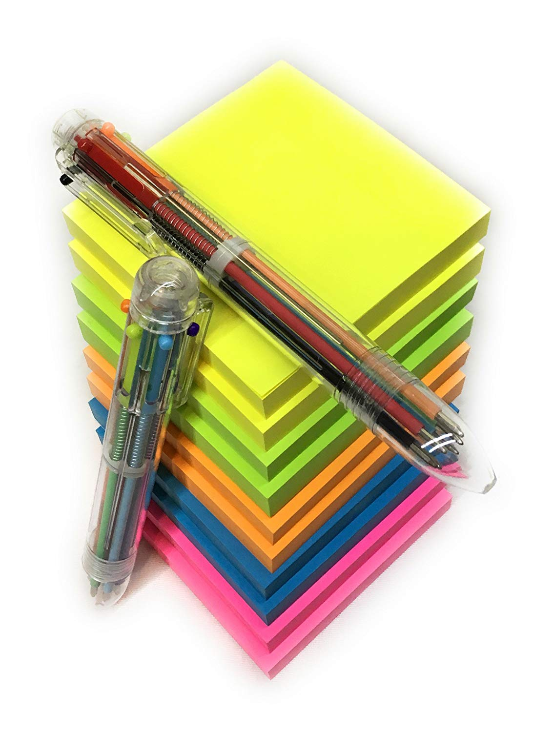 Sticky notes 3x3, 10 pack/100 sheets, 5 bright colors blue pink yellow orange and green, with 2 multi color pens 6 bright colors for school students home/office, Notas adhesivas, Boligrafos multicolor