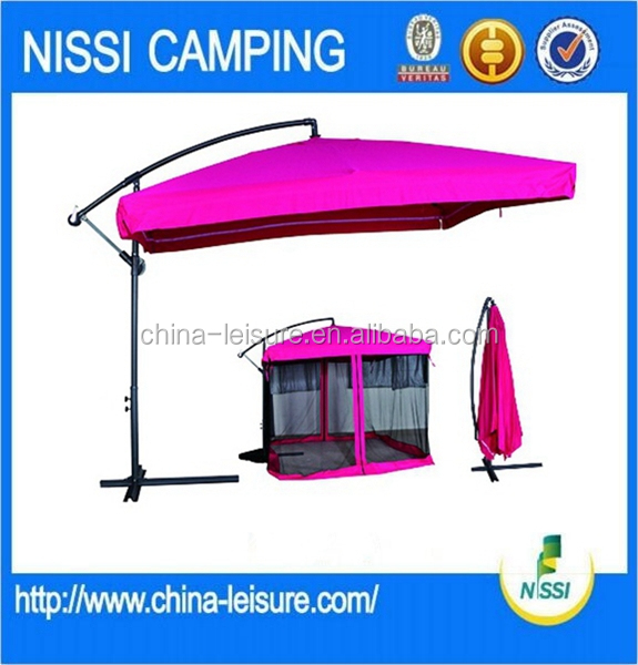 Outdoor Reinforced Waterproof Cloth promotional PARASOL WITH CROSS BASE, WITH 4 MESH WALLS