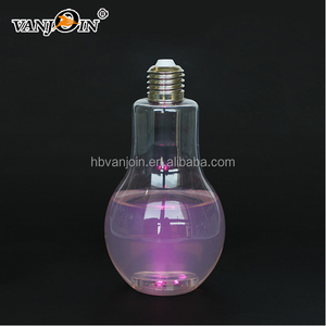 400ml 500ml 700ml PET Plastic LED Light Bulb Shape Bottle with Gold Lid