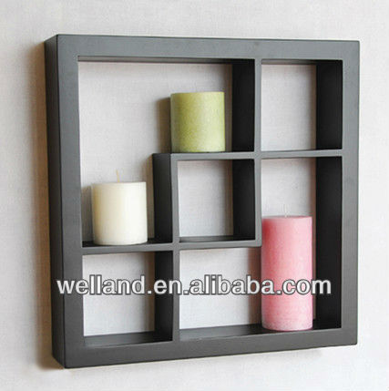Black MDF Floating wall shelf mounted on wall