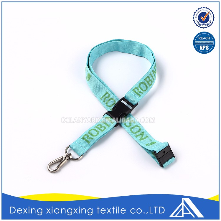 Special customize neck attach buckle green letter logo ski pass lanyard for sale