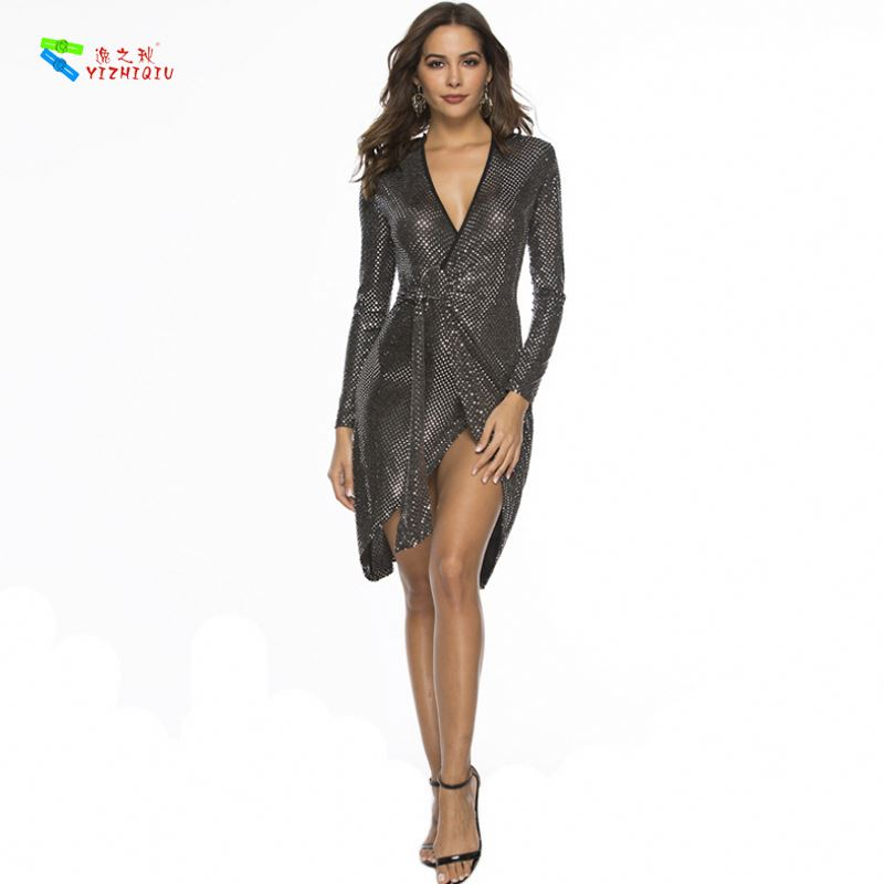 YIZHIQIU Sequin Asymmetrical Straps V Neck Tight Sexy Nightclub Sequin Woman Dress