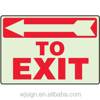 Top Quality Glow In The Dark Emergency Aluminum Custom Exit Signs