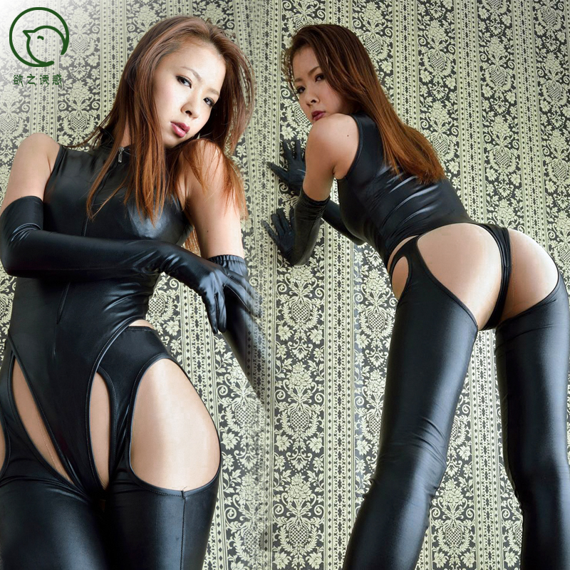 wholesale <strong>sexy</strong> women's plus size night club dress PU leather Erotic jumpsuit cosplay lingerie