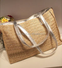 Ladies Big Capacity Summer Straw Tote Bags Good Quality Paper Straw Bags with Silver Handling