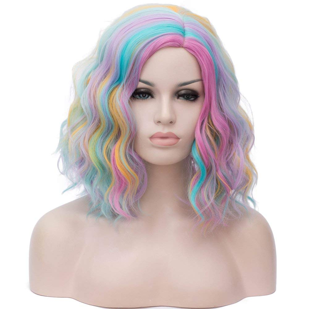 Get Quotations · Alacos Rainbow Color 40CM Short Bob Center Part Halloween  Christmas Gift Party Costumes Cosplay Wig for 4235f3ec391d
