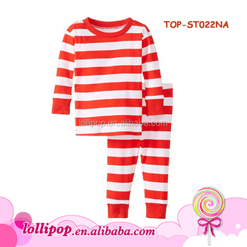 c762108ecd Wholesale Cute Kid Cotton Pajamas Christmas Outfit Fancy Blank Top Matching  Casual Red white Stripe Pant