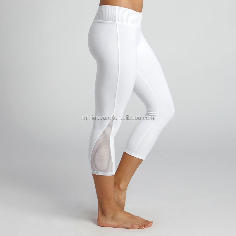 Womens White Capri Leggings Photo Album - Reikian