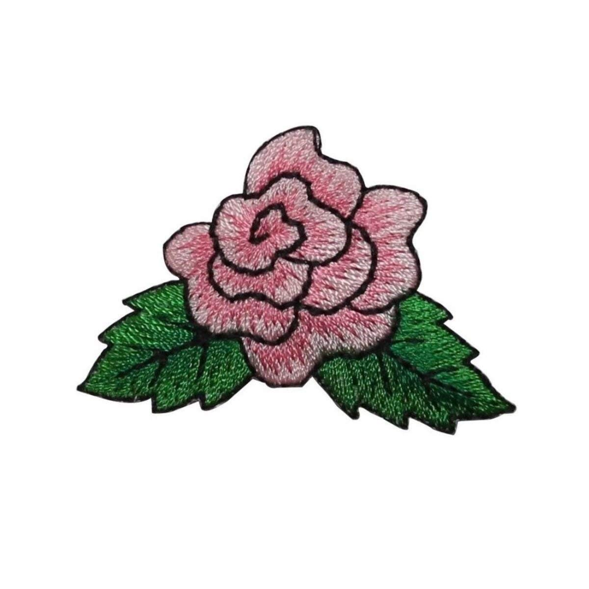 ID 6154 Pink Rose Flower Patch Leaves Garden Love Embroidered Iron On Applique
