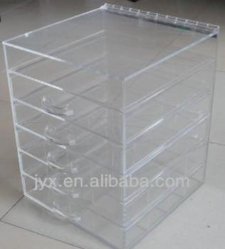 Acrylic makeup cosmetic organizer 6 drawer with dividers