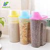 Wholesale Kitchen Grain Plastic Dry Food Dispenser Box/Rice Bean Cereal Container With Measuring Cup