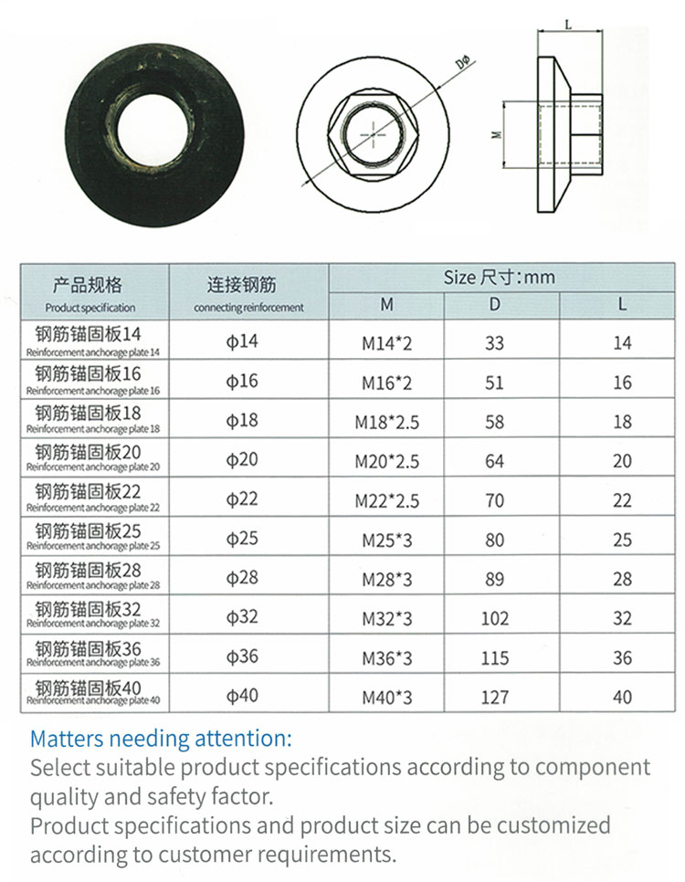 high quality embedded parts fastening anchorage plate