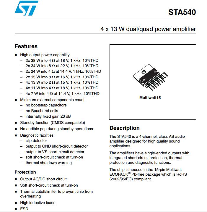 Quad MULTIWATT15 Getestet iv 5 Stücke STA540 St 15-Multiwatt Amp Aud Dual