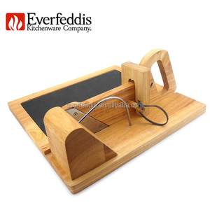 wooden salami guillotine slicer sausage cutter with slate chopping board
