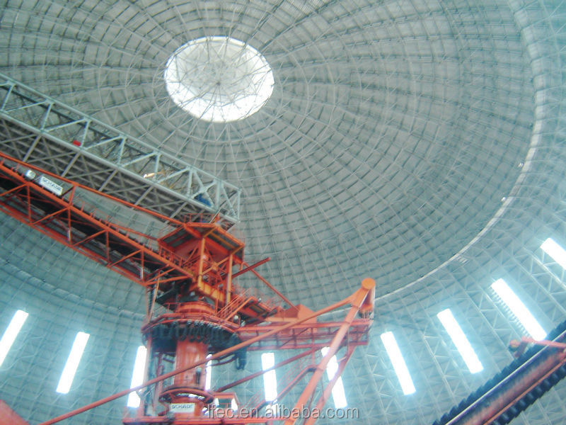Light steel dome space frame for coal storage